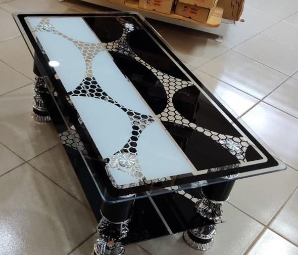 GLASS TABLE BLACK, WHITE & SILVER DESIGN GLASS CJ216