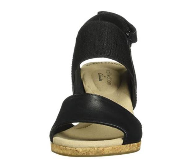 Footwear Clarks Women's Lafley Lily Wedge Sandal Black Leather/Textile Combi
