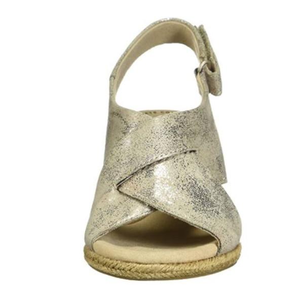Footwear Clarks Women's Lafley Alaine Wedge Sandal Pewter Textile