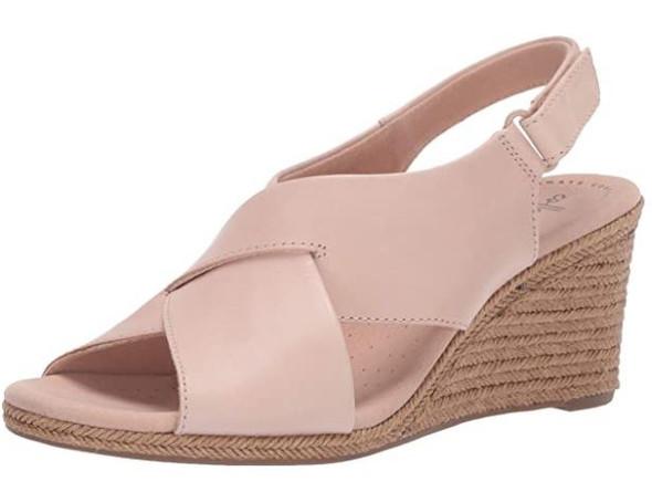 Footwear Clarks Women's Lafley Alaine Wedge Sandal Blush Leather