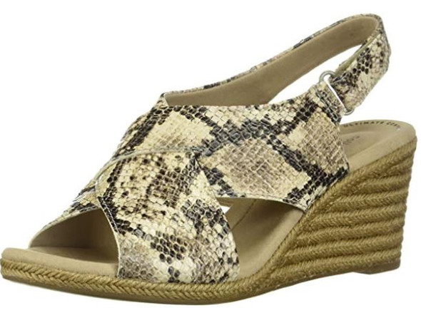 Footwear Clarks Women's Lafley Alaine Wedge Sandal Taupe Snake Synthetic