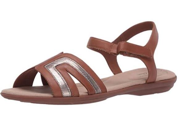 Footwear Clarks Women's Ada Mist Sandal Tan/Metallic Leather Combi