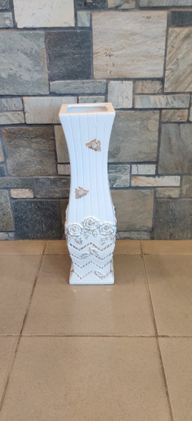 """VASE 24"""" EQ106 WHITE, SILVER AND GOLD BUTTERFLY"""