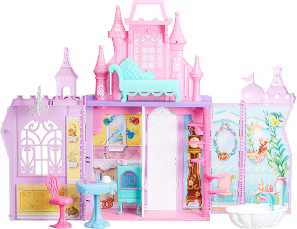Toy Disney Princess Pop-Up Palace, Castle Playset with Handle and 13 Accessories, 5 Rooms, 2 Feet Tall