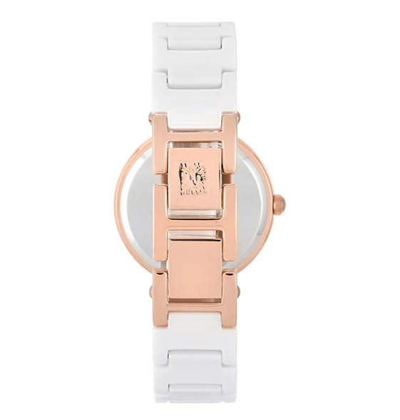 Watch Anne Klein Women's 1018RGWT Ceramic and Rose Gold-tone Stainless Steel White Dial