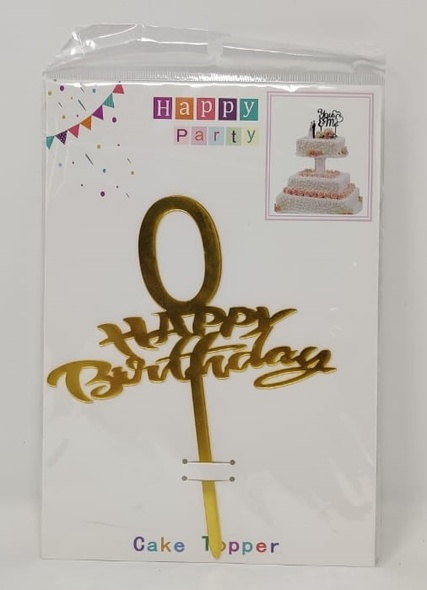 PARTY CAKE TOPPER HAPPY BIRTHDAY WITH NUMBERS 0-9 GOLD 870