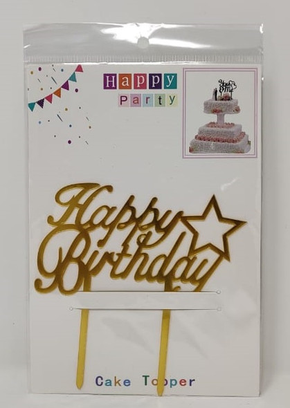 PARTY CAKE TOPPER HAPPY BIRTHDAY WITH STAR ZH36