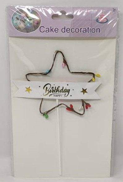 PARTY CAKE TOPPER HAPPY BIRTHDAY STAR LIGHTED ZH38