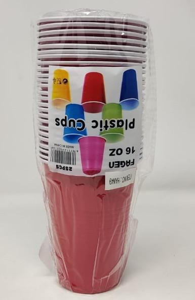PARTY CUPS PLASTIC 16oz 25PCS FAGEN HAN49
