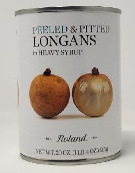 ROLAND PEELED & PITTED LONGANS IN HEAVY SYRUP 20oz 567g