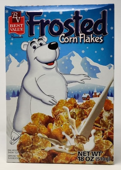 BEST VALUE FROSTED CORN FLAKES 18oz 510g