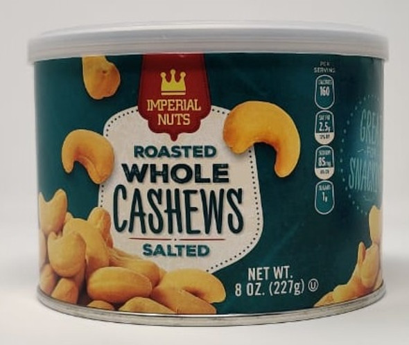 IMPERIAL NUTS ROASTED WHOLE CASHEWS SALTED 8oz 227g
