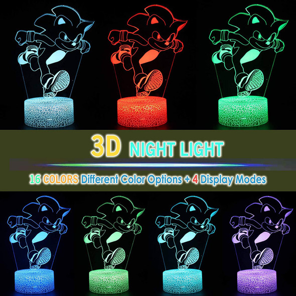 2BANANAS Hedgehog 3D Optical Illusion 16 Colors Night Light Table Lamp with Luminous Base, Remote Control for Sonic Fans