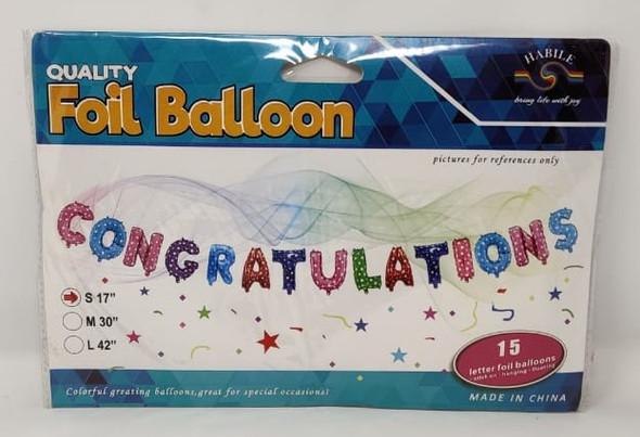 PARTY BALLOONS CONGRATULATIONS 15PCS PACK BAL855