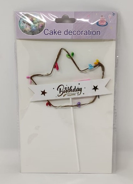 PARTY CAKE TOPPER HAPPY BIRTHDAY WITH CROWN ZH45