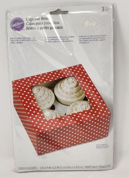 "BAKING WILTON CUPCAKE BOXES 3PCS 6.25""X6.25""X3"" HOLDS 4 CUPCAKES 415-0575"