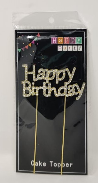 PARTY CAKE TOPPER HAPPY BIRTHDAY GOLD WITH STONES YS54