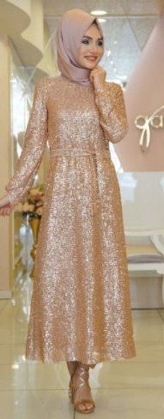 Dress Evening Game Ozkul Rose gold with sequins