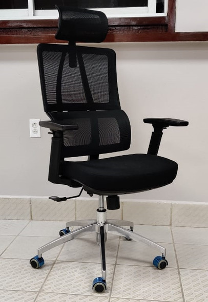 CHAIR OFFICE BLACK WITH HEAD REST H-001A