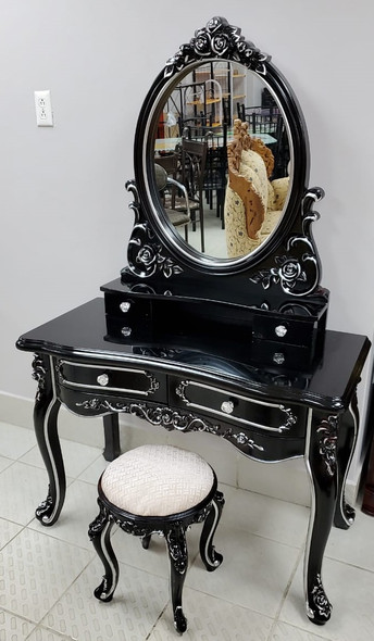 DRESSER WITH MIRROR & SEAT 601 BLACK AND SILVER