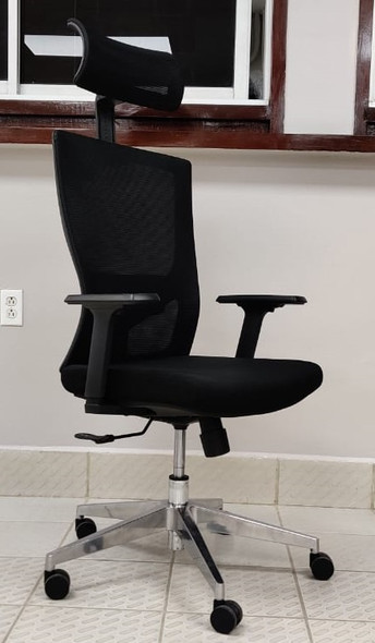 CHAIR OFFICE BLACK WITH HEAD REST H-008A