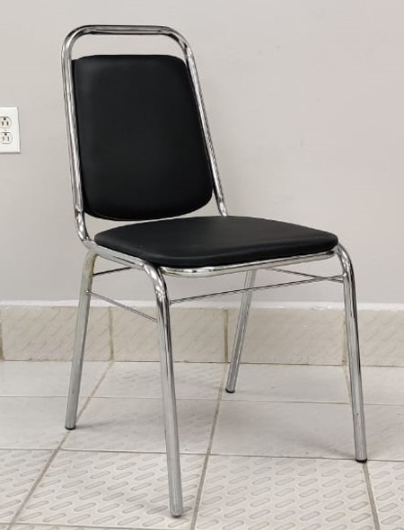 CHAIR WAITING BLACK AND CHROME (HANDLE) 223A (A223) SMALL