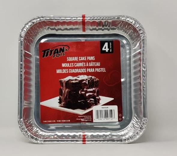 "FOIL TRAY TITAN BZ90308R 4PCS PACK SQUARE CAKE PANS 7.5X7.5X1.5"" 19X19X3.2CM"