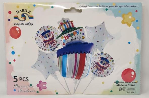 PARTY BALLOONS 5pcs Pack Happy Birthday LS521 TZ-S5001