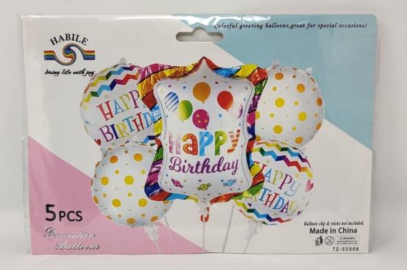 PARTY BALLOONS 5pcs Pack Happy Birthday LS521 TZ-S5008