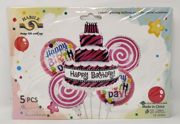 PARTY BALLOONS 5pcs Pack Happy Birthday LS521 TZ-S5002