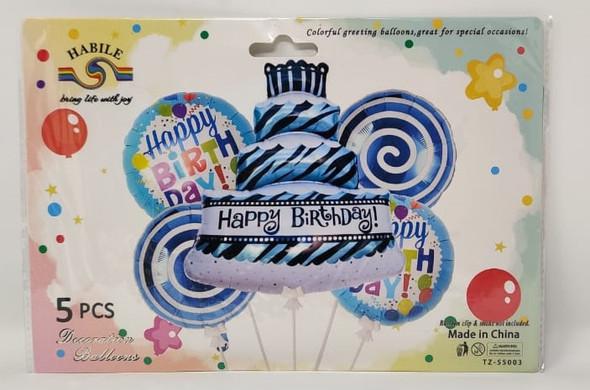 PARTY BALLOONS 5pcs Pack Happy Birthday LS521 TZ-S5003
