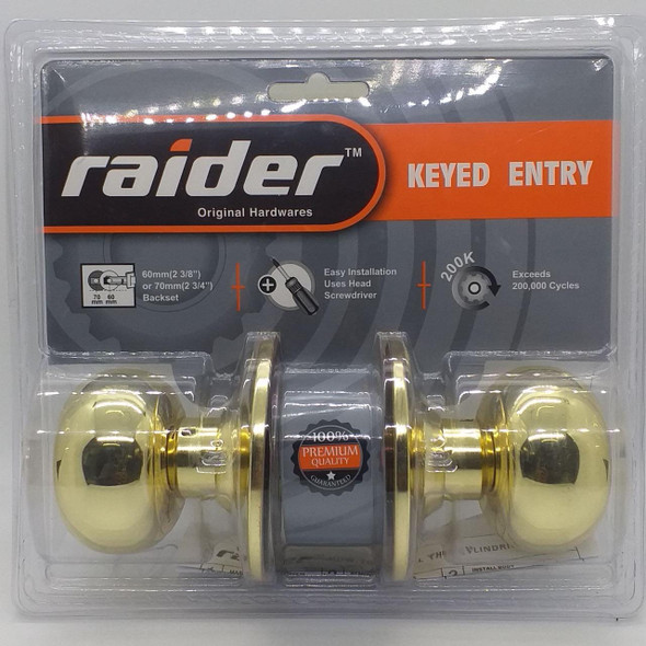 LOCK KNOB RAIDER PB KEYED #3691 PB-ML-ET