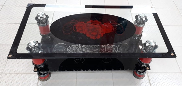 GLASS TABLE M7 RED ROSE