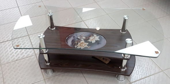 GLASS TABLE M15 BROWN WOOD FLOWER
