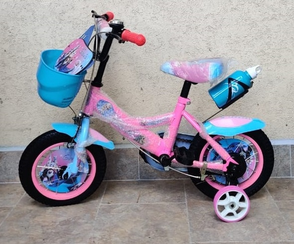 "BICYCLE 12"" 01-PINK FROZEN W/PLASTIC BASKET & FEN"
