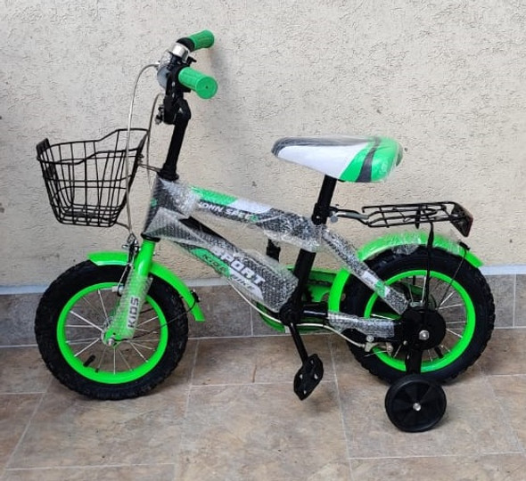 "BICYCLE 12"" 06B SPORT W/BASKET & CARRIER GREEN"