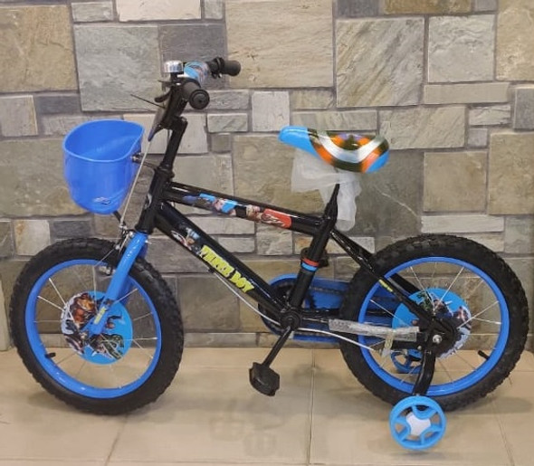 "BICYCLE 16"" 90 BOY AVENGERS W/PLASTIC BASKET BLUE"
