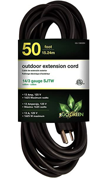 EXTENSION CORD OUTDOOR 50' GOGREEN GG-13850BK BLACK 14G