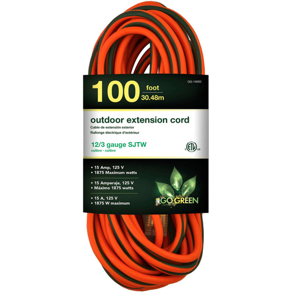 EXTENSION CORD OUTDOOR 100' GOGREEN GG-14000 12G