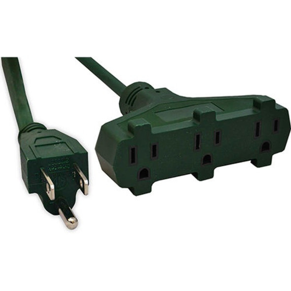 EXTENSION CORD OUTDOOR 22' GOGREEN GG-15022GN 3 OUTLET 16G