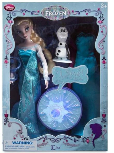 "Toy Disney Frozen Elsa Singing Doll Set Olaf - 11"" Sings & Glows"