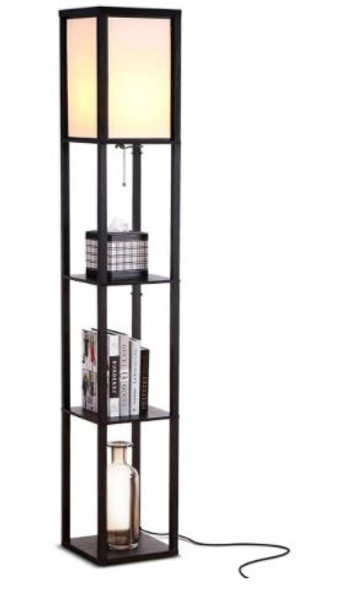 Floor Lamp Brightech Maxwell - Modern  End Table and Nightstand  Book Shelves - Black