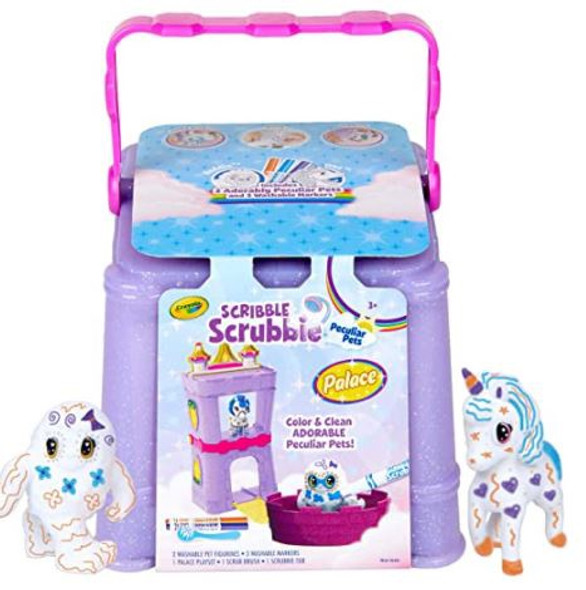 Toy Crayola Scribble Scrubbie Peculiar Pets, Palace Playset with Unicorn and Yeti