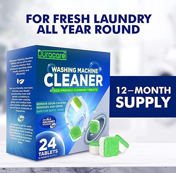 Washing Machine Cleaner Duracare  Heavy-Duty Deep Clean and Deodorize 24 Tablets - 1 Year Supply