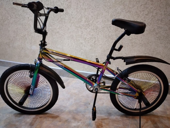 "BICYCLE 20"" SINGH SS-FREESTYLE-140H STUNTS STREET BMX RAINBOW FRAME BEAST MULTICOLOR SPOKES RIM"