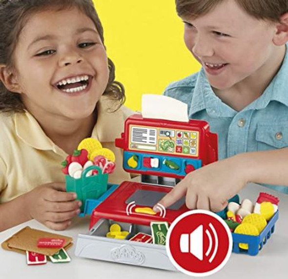 Toy Play-Doh Cash Register with Fun Sounds, Play Food Accessories,4 Non-Toxic Colors