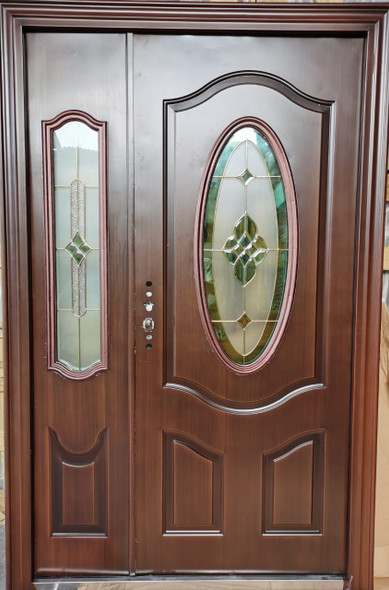 DOOR METAL BRASS  GLASS WITH SINGLE SIDE PANEL ZHY-5007 2050X1280X50MM