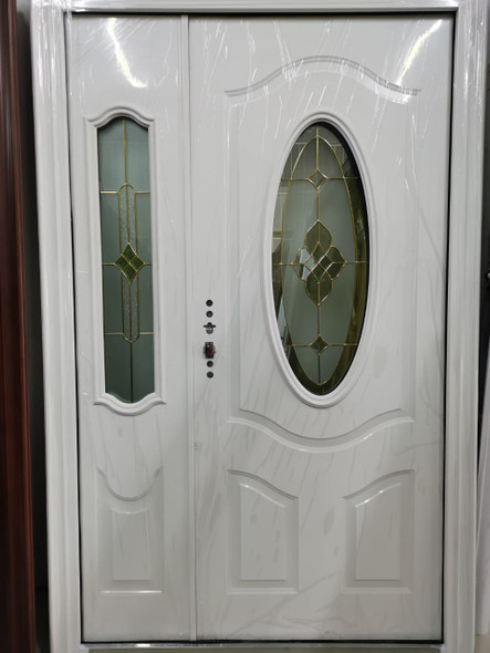DOOR METAL WHITE GLASS WITH SINGLE SIDE PANEL 2050X1280X50MM