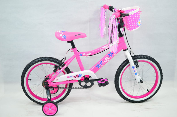 "BICYCLE 16"" SINGH SS-16 GIRLS PINK WITH BASKET"