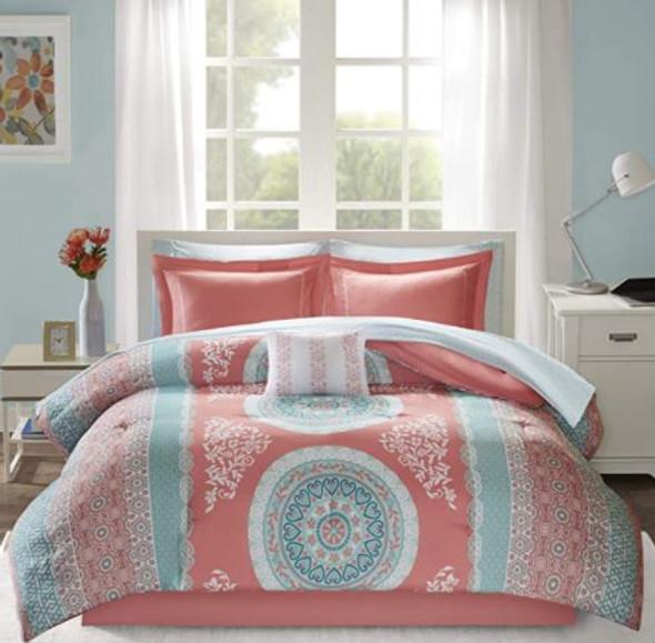 Comforter Set Intelligent Design Coral Queen includes sheet set & decorative pillow